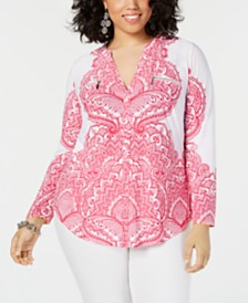 I.N.C. Plus Size Long-Sleeve Zip-Pocket Shirt, Created for Macy's