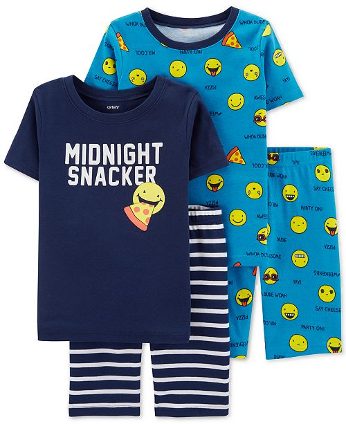 Carter's Little & Big Boys 4-Pc. Cotton Emoji Pajamas Set