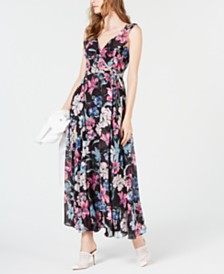 I.N.C. Floral-Print Wrap Maxi Dress, Created for Macy's