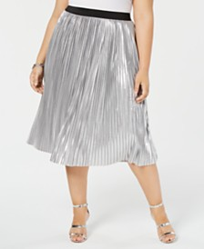 I.N.C. Plus Size Metallic Pleated Midi Skirt, Created for Macy's