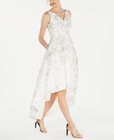 Calvin Klein Metallic-Embroidered High-Low Gown