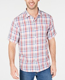 Tommy Bahama Men's Linen Blend Plaid Shirt