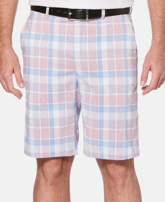 PGA TOUR Mens Plaid Shorts , White, Size: 33