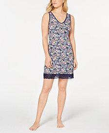 Sesoire Flower-Print Lace-Trim Nightgown