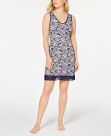 Sesoire Flower-Print Lace-Trim Nightgown