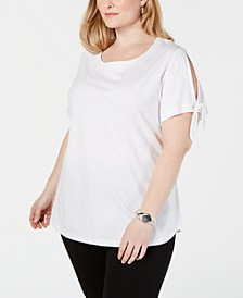 Plus Size Slit-Sleeve T-Shirt, Created for Macy's