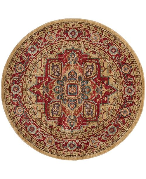"""Safavieh Mahal Red and Natural 5'1"""" x 5'1"""" Round Area Rug"""