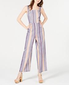 Be Bop Juniors' Button-Front Wide-Leg Jumpsuit