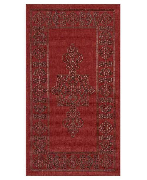 "Safavieh Courtyard Red and Chocolate 2'7"" x 5' Sisal Weave Area Rug"