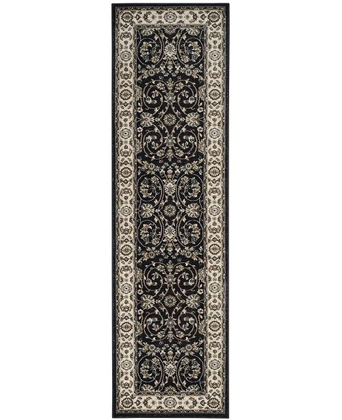 "Safavieh Lyndhurst Anthracite and Cream 2'3"" x 12' Runner Area Rug"