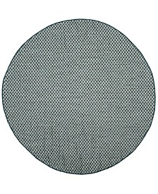"""Courtyard Turquoise and Light Gray 6'7"""" x 6'7"""" Sisal Weave Round Area Rug"""