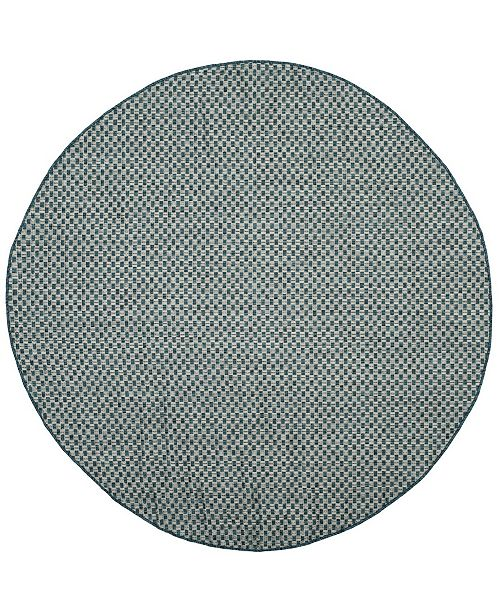 """Safavieh Courtyard Turquoise and Light Gray 6'7"""" x 6'7"""" Sisal Weave Round Area Rug"""