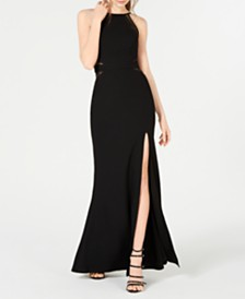 City Studios Juniors' Side-Slit Illusion Column Gown, Created for Macy's