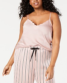 I.N.C. Plus-Size Scalloped Neckline Camisole Pajama Top, Created for Macy's