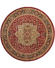 "Safavieh Mahal Natural and Navy 5'1"" x 5'1"" Round Area Rug"