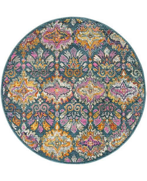 "Safavieh Madison Blue and Orange 6'7"" x 6'7"" Round Area Rug"