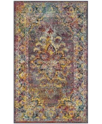 Crystal Navy and Light Blue 7' x 7' Square Area Rug