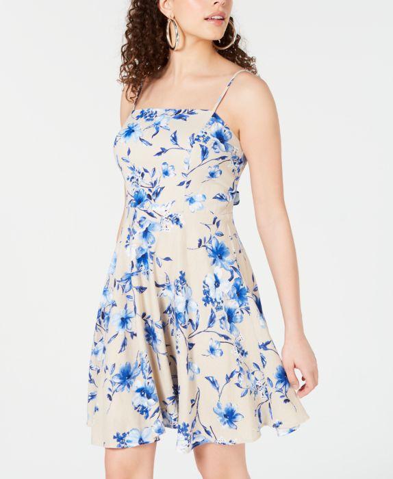 City Studios Juniors Floral Tie-Back Fit & Flare Dress, Tan/Beige, Size: 3