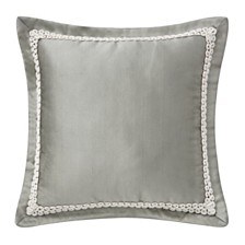 "Waterford Celine Dove Grey 16"" X 16"" Square Collection Decorative Pillow"