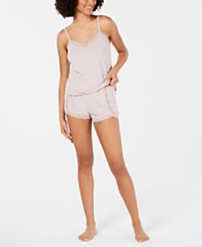I.N.C. Lace-Trim Sparkle Pajama Set, Created for Macy's