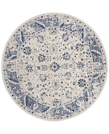 "Safavieh Charleston Ivory and Blue 6'7"" x 6'7"" Round Area Rug"