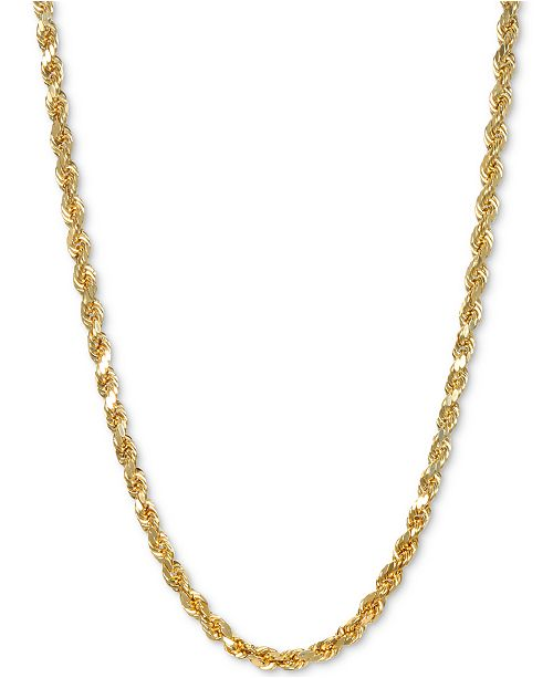 "Italian Gold Rope 26"" Chain Necklace in 14k Gold"