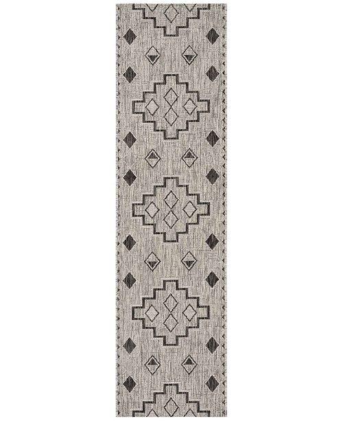 "Safavieh Courtyard Grey and Black 2'3"" x 12' Sisal Weave Runner Area Rug"
