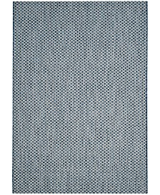 "Safavieh Courtyard Blue and Light Gray 5'3"" x 5'3"" Sisal Weave Square Area Rug"