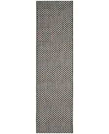 "Safavieh Courtyard Black and Light Grey 2'3"" x 14' Sisal Weave Runner Area Rug"