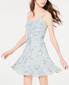 Trixxi Juniors' Ruched Fit & Flare Dress