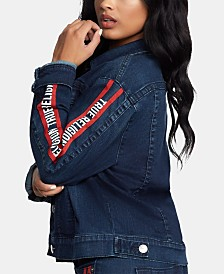 True Religion Logo Denim Trucker Jacket