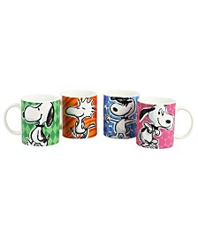 Peanuts Festive Sketch 4 Piece 15 Ounce Mug Set