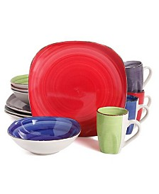 Color Vibes 12 Piece Stoneware Soft Square Dinnerware Set