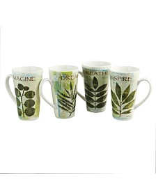Nature Pressed 16 Ounce Cone Shape Mug - Set of 4