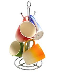 4 Piece 12 Ounce Mug with Metal Stand