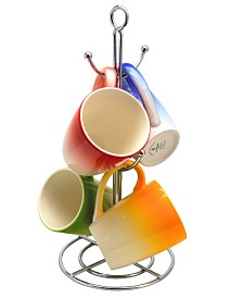 Color Gloss 4 Piece 12 Ounce Mug with Metal Stand