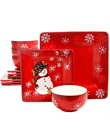 Pleasant Poinsettia 12 Piece Ceramic Dinnerware Set