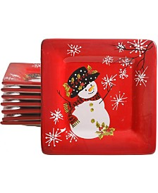 "Laurie Gates Snappy Snowman 8.5"" Dessert Plate Set, Set of 8"