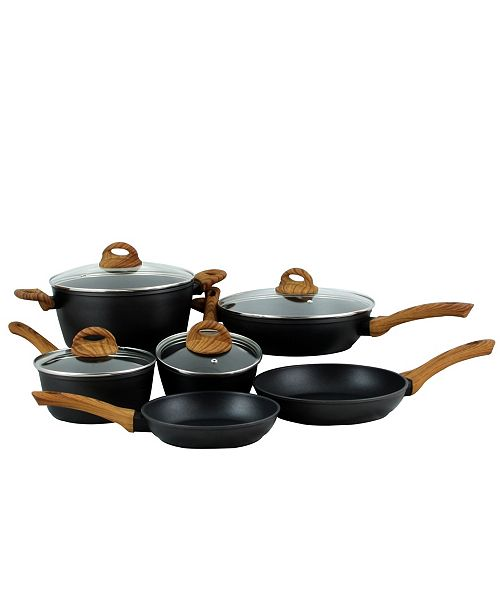 Gibson Oster Cuisine Newbury 10 Piece Nonstick Forged Aluminum Cookware with Wood Look Handles