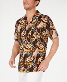 Tasso Elba Men's Bird Graphic Camp Collar Silk Shirt, Created for Macy's