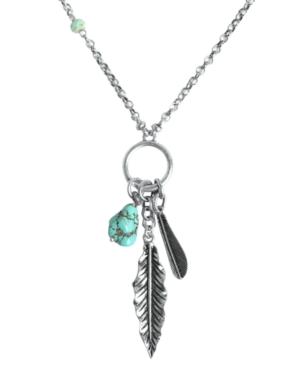 Lucky Brand Necklace, Silver-Tone Semi-Precious Turquoise Feather Charm Necklace