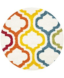 "Shag Kids Ivory and Multi 6'7"" x 6'7"" Round Area Rug"