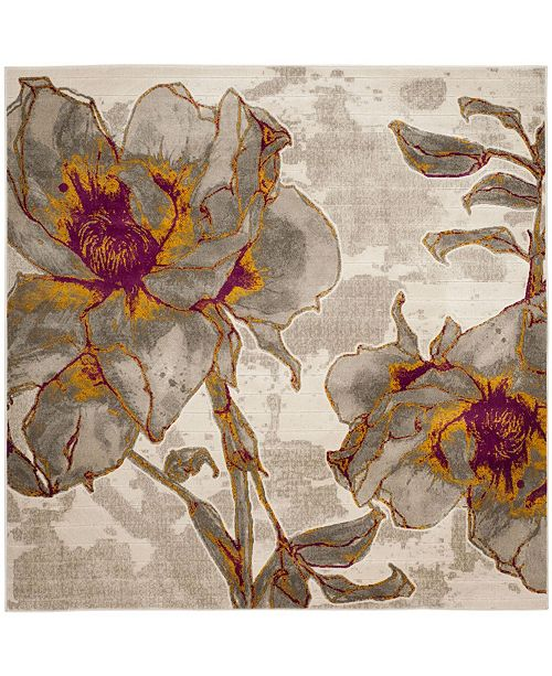 """Safavieh Porcello Ivory and Gray 6'7"""" x 6'7"""" Square Area Rug"""