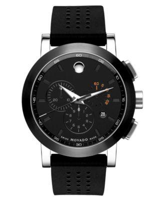 movado men s swiss museum sport black rubber strap watch 42mm movado men s swiss museum sport chronograph black perforated rubber strap watch 44mm 0606545