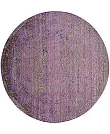 """Valencia Lavender and Multi 6'7"""" x 6'7"""" Round Area Rug"""