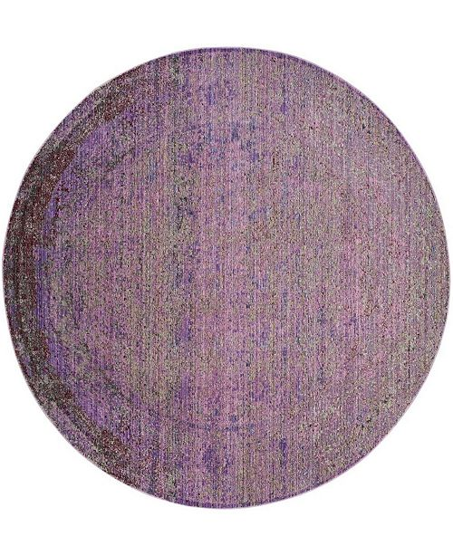 "Safavieh Valencia Lavender and Multi 6'7"" x 6'7"" Round Area Rug"