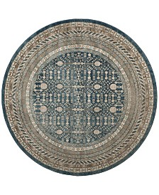 "Safavieh Sofia Blue and Beige 6'7"" x 6'7"" Round Area Rug"