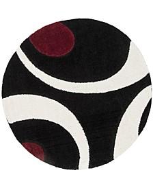 "Shag Black and Ivory 6'7"" x 6'7"" Round Area Rug"