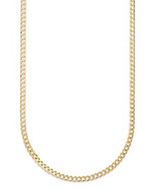 "Curb Chain 22"" Necklace (3-3/5mm) in Solid 14k Gold"