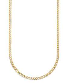 "Curb Chain 22"" Necklace in Solid 14k Gold"